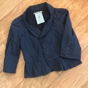 Anthropology- Hei hei Navy crop Blazer